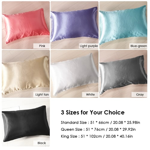 2pcs/set Soft Silk-like Pillow Cases Well-made Envelope Type Pillow Slipcover Silky Smooth Pillowcase Solid Color Pillow Slip--QueHome &amp; Garden<br>2pcs/set Soft Silk-like Pillow Cases Well-made Envelope Type Pillow Slipcover Silky Smooth Pillowcase Solid Color Pillow Slip--Que<br>