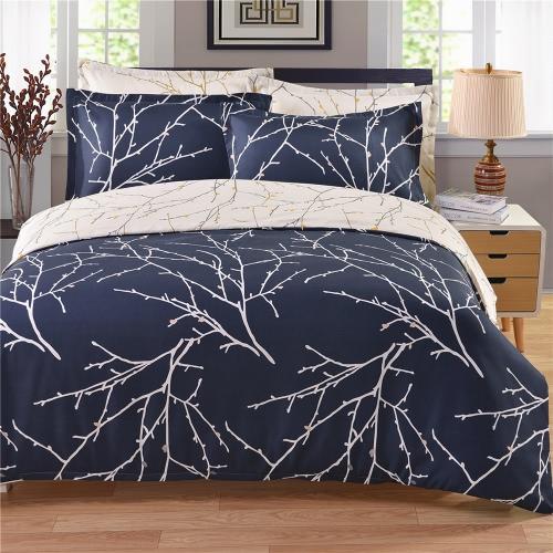 Cozy Bedding Set Poliéster Bem-feito Reversível Duvet Cover Set Cobertura de edredão suave e conjuntos de fronha