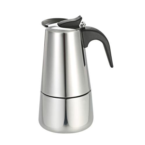 100ml 2 tazas de acero inoxidable Espresso Percolator Coffee Stovetop Maker Mocha pote para su uso en estufas de gas o eléctricas