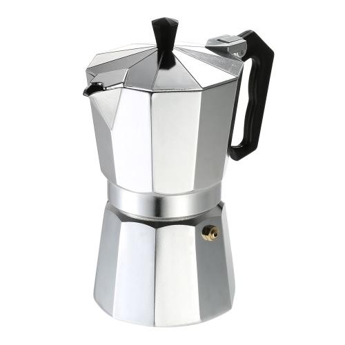 3-Copa de aluminio Espresso Percolator Coffee Stovetop Maker Mocha pote para su uso en estufa de gas o eléctrico