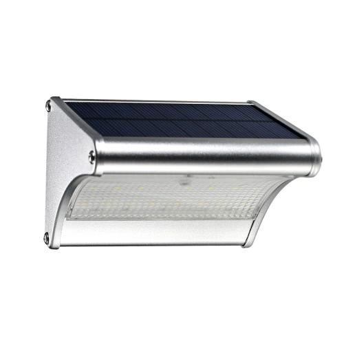 Открытый солнечный свет 24 светодиода 450 люмен PIR датчик движения с алюминиевым сплавом жилья Водонепроницаемый свет безопасности для сада дворе Pathway Патио