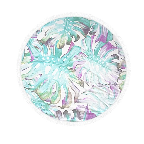150cm Diameter Round Colorful Beach Towel Tapestry Mat Picnic Blanket Beach Shawl with Fringe Tassels  for Holiday Travel