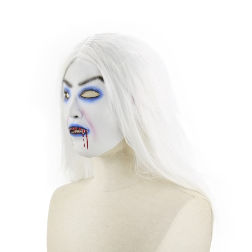 Latex Full Head Horror Scary Mask Wig Bloody Toothy Zombie Masks with Long White Hair for Halloween Cosplay Costume PartyHome &amp; Garden<br>Latex Full Head Horror Scary Mask Wig Bloody Toothy Zombie Masks with Long White Hair for Halloween Cosplay Costume Party<br>
