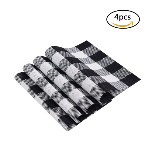 12 * 18 inches PVC Heat-resistant Plaid Woven Placemat Stain-resistant Anti-skid Washable Dining Table Mats Placemats--Set of 4 BlHome &amp; Garden<br>12 * 18 inches PVC Heat-resistant Plaid Woven Placemat Stain-resistant Anti-skid Washable Dining Table Mats Placemats--Set of 4 Bl<br>