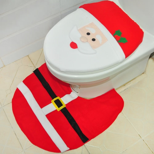 Soft Polyester Christmas Toilet Seat Cover + U-shaped Anti-slip Bathroom Rug Bathmat Set Christmas Decorations Ornaments--Santa ClHome &amp; Garden<br>Soft Polyester Christmas Toilet Seat Cover + U-shaped Anti-slip Bathroom Rug Bathmat Set Christmas Decorations Ornaments--Santa Cl<br>