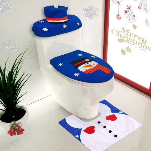 3pcs/set Christmas Bathroom Decorations Toilet Seat Cover + U-shaped Rug + Tank Lid &amp; Tissue Box Cover Set Christmas OrnamentsHome &amp; Garden<br>3pcs/set Christmas Bathroom Decorations Toilet Seat Cover + U-shaped Rug + Tank Lid &amp; Tissue Box Cover Set Christmas Ornaments<br>