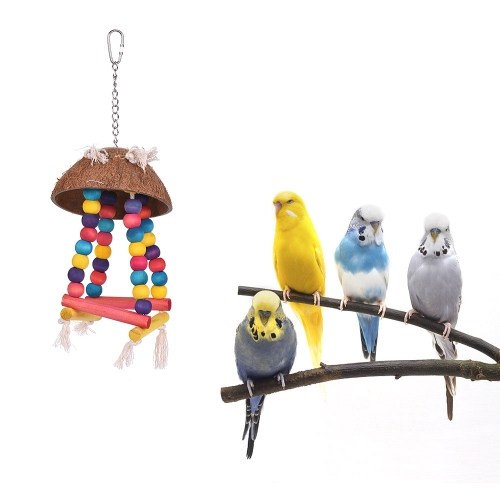 Color Bird Perch Parrot Hanging Swing Chew Toy Coco Wood Bird Cage Accessories Toys Stand for ParrotsHome &amp; Garden<br>Color Bird Perch Parrot Hanging Swing Chew Toy Coco Wood Bird Cage Accessories Toys Stand for Parrots<br>