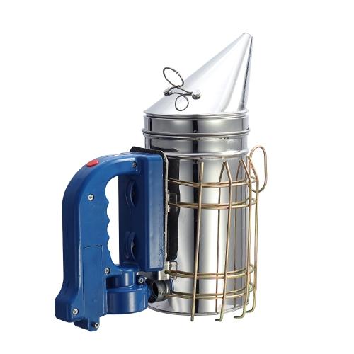 Transmisor de humo eléctrico de acero inoxidable Aireador de fumador Pote para la apicultura Herramienta de apicultura Abejas de humo alejan a las abejas