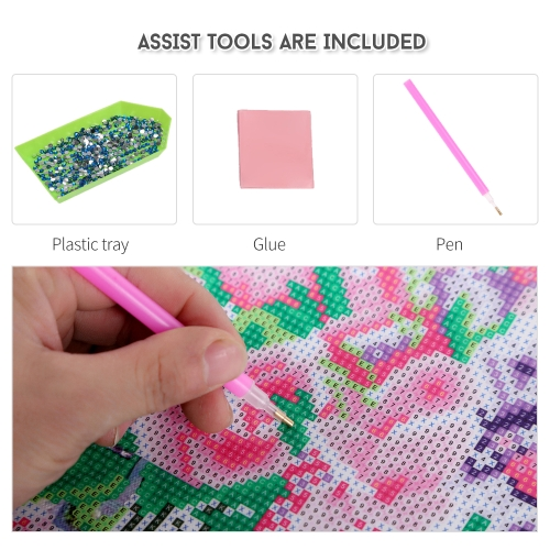 10 * 10 inches/25 * 25cm DIY 5D Diamond Painting Kit Flower Resin Rhinestone Mosaic Embroidery Cross Stitch Craft Home Wall Decor