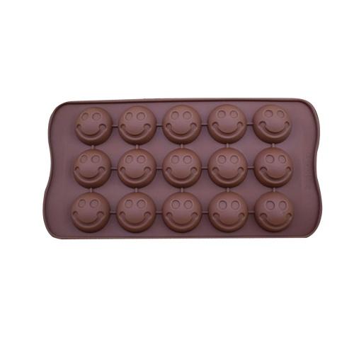 1 Pcs 15-Molde De Silicone De Chocolate Geléia Doce Mold Ice Cube DIY Bolo Biscoito Molde Biscoito De Cozimento De Cozinha Ferramenta Estilo Marrom 1 Sorriso