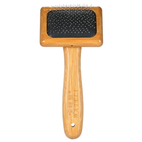HATELI الحيوانات الأليفة Slicker Brush Bamboo Wood Cushion Slicker Brush