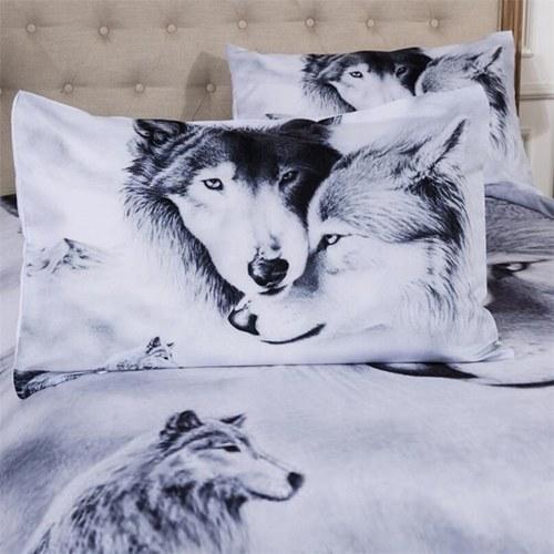 3D Lobo Padrão impresso Bedding Set