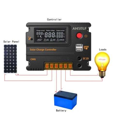 Anself 20A 12V 24V LCD Solar Charge Controller Panel Battery Regulator Auto Switch Overload Protection Temperature CompensationHome &amp; Garden<br>Anself 20A 12V 24V LCD Solar Charge Controller Panel Battery Regulator Auto Switch Overload Protection Temperature Compensation<br>