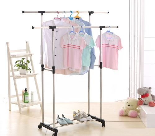 iKayaa Metal Adjustable Double Rail Clothes Garment Dress Hanging Rack Width Extendable Heavy-duty Cloth Display Stand Organizer oHome &amp; Garden<br>iKayaa Metal Adjustable Double Rail Clothes Garment Dress Hanging Rack Width Extendable Heavy-duty Cloth Display Stand Organizer o<br>