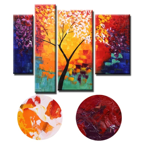 4pcs Unframed Hand Painted Modern Abstract Oil Painting Set Life Tree Canvas Paint Wall Decor Art for Living Room DecorationHome &amp; Garden<br>4pcs Unframed Hand Painted Modern Abstract Oil Painting Set Life Tree Canvas Paint Wall Decor Art for Living Room Decoration<br>