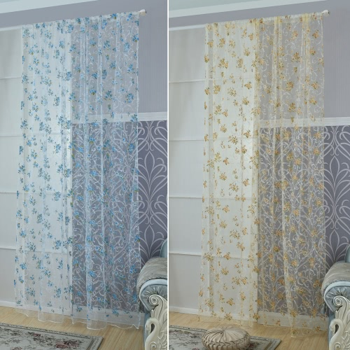 Anself 2PCS 100*260cm Elegant Voile Curtains Drape Offset Print Flower Pattern Tulle Sheer Curtain Door Window Screening for BedroHome &amp; Garden<br>Anself 2PCS 100*260cm Elegant Voile Curtains Drape Offset Print Flower Pattern Tulle Sheer Curtain Door Window Screening for Bedro<br>