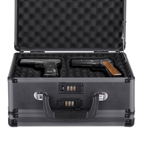 iKayaa double face en aluminium dur Pistolet Pistolet Case Avec 2 Combinaison Serrures de sécurité Gun Carry Boîte de rangement d'accessoires