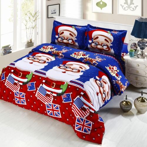 4 pezzi Cotone Materiale stampato il fumetto 3D di Buon regalo di Natale Babbo Natale Comfort profonda tasca Bedding Set Biancheria Duvet Quilt Cover lenzuolo 2 federe
