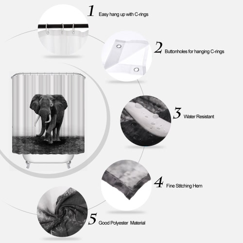 Anself 180*200cm Wild Elephant Pattern Shower Curtain Size 71*79 Polyester Fabric Water Resistant Bath Curtain with 12 C Ring HoHome &amp; Garden<br>Anself 180*200cm Wild Elephant Pattern Shower Curtain Size 71*79 Polyester Fabric Water Resistant Bath Curtain with 12 C Ring Ho<br>