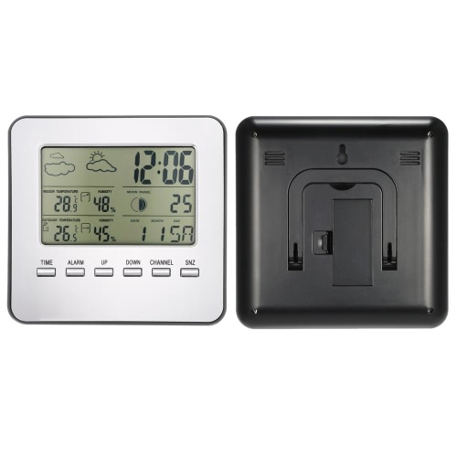 Multi-functional Wireless Weather Station Clock LCD Digital Indoor Outdoor Thermometer Hygrometer Calendar Alarm Moon Phase DisplaHome &amp; Garden<br>Multi-functional Wireless Weather Station Clock LCD Digital Indoor Outdoor Thermometer Hygrometer Calendar Alarm Moon Phase Displa<br>