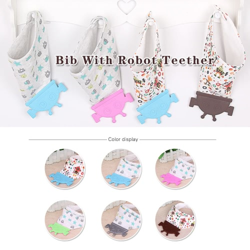 Comfortable Soft Baby Silicone Saliva Pocket Feeding Teethers Bibs BPA Free Infant Toddlers Cotton Teething Towel Cute Robot-shapeHome &amp; Garden<br>Comfortable Soft Baby Silicone Saliva Pocket Feeding Teethers Bibs BPA Free Infant Toddlers Cotton Teething Towel Cute Robot-shape<br>