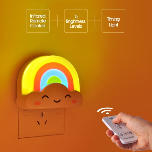 Mini Rainbow Baby Room Infrared LED Wall Night Light Nursery Adjustable Brightness Nightlight with Remote Control AC110-240VHome &amp; Garden<br>Mini Rainbow Baby Room Infrared LED Wall Night Light Nursery Adjustable Brightness Nightlight with Remote Control AC110-240V<br>