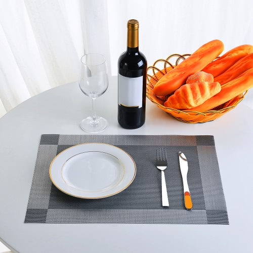 12 * 18 inches PVC Heat-resistant Woven Placemat Stain-resistant Anti-skid Washable Dining Table Mats Placemats--Set of 4 Black GrHome &amp; Garden<br>12 * 18 inches PVC Heat-resistant Woven Placemat Stain-resistant Anti-skid Washable Dining Table Mats Placemats--Set of 4 Black Gr<br>