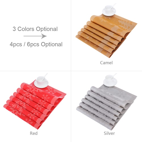 12 * 18 inches PVC Heat-resistant Woven Placemat Stain-resistant Anti-skid Washable Dining Table Mats Placemats for Christmas--SetHome &amp; Garden<br>12 * 18 inches PVC Heat-resistant Woven Placemat Stain-resistant Anti-skid Washable Dining Table Mats Placemats for Christmas--Set<br>