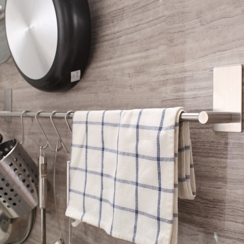 Multifunctional Self Adhesive Towel Bar Rack with Sturdy Hooks Space-saving Wall-mounted Hook Holder High Quality Stainless SteelHome &amp; Garden<br>Multifunctional Self Adhesive Towel Bar Rack with Sturdy Hooks Space-saving Wall-mounted Hook Holder High Quality Stainless Steel<br>