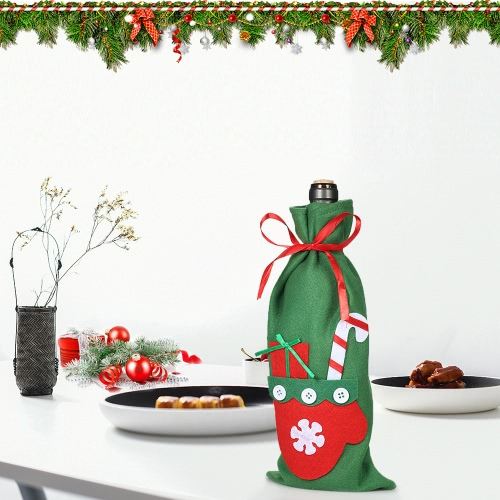 Christmas Wine Bottle Cover Bag Xmas Gift Candy Bag with Stain Ribbons Christmas Party Decorations OranmentsHome &amp; Garden<br>Christmas Wine Bottle Cover Bag Xmas Gift Candy Bag with Stain Ribbons Christmas Party Decorations Oranments<br>