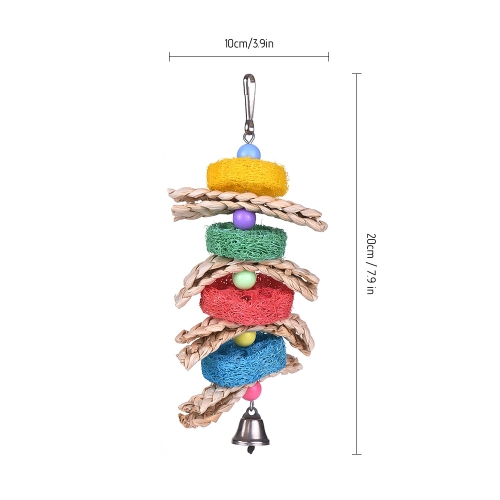 Bird Cage Toys Hanging Chew Foraging Toys for Parrot Parakeet Budgie Cockatiel with Bell Knots BlockHome &amp; Garden<br>Bird Cage Toys Hanging Chew Foraging Toys for Parrot Parakeet Budgie Cockatiel with Bell Knots Block<br>