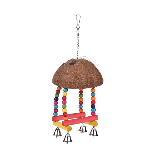 Color Bird Perch Parrot Suspensão Swing Chew Toy Coco Wood Bird Cage Acessórios Brinquedos Stand para Papagaios
