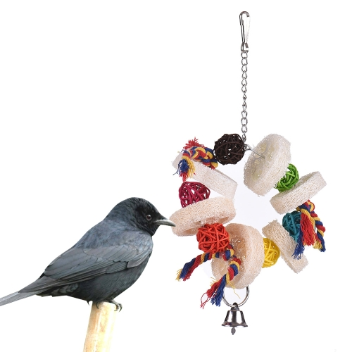 Parrot Toys Hanging Chew Bite Swing Foraging Toys with Bell for Bird Cage Accessories Towel GourdHome &amp; Garden<br>Parrot Toys Hanging Chew Bite Swing Foraging Toys with Bell for Bird Cage Accessories Towel Gourd<br>