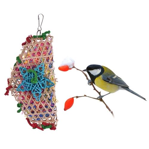 Natural Parrot Chew Bite Swing Toy Acessórios de gaiolas de pássaros coloridos Brinquedos pendurados para Parakeet Budgie Macaw Cockatoo
