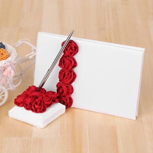4pcs/set Wedding Supplies Red Rose Satin Flower Girl Basket + 7 * 7 inches Ring Bearer Pillow + Guest Book + Pen HolderHome &amp; Garden<br>4pcs/set Wedding Supplies Red Rose Satin Flower Girl Basket + 7 * 7 inches Ring Bearer Pillow + Guest Book + Pen Holder<br>
