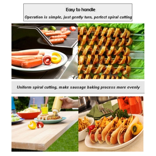 2Pcs Manual Sausage Cutter Spiral Barbecue Hot Dog Cutter Kitchen Gadget Tool for Food Auxiliary AccessoryHome &amp; Garden<br>2Pcs Manual Sausage Cutter Spiral Barbecue Hot Dog Cutter Kitchen Gadget Tool for Food Auxiliary Accessory<br>