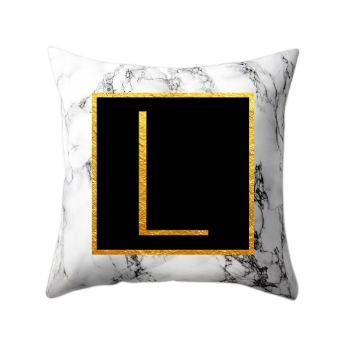 Modern Pillowcases 45*45 Gold Alphabet Word Letter White Marble Pattern Pillow Case