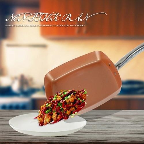 Saucepan Square Copper Fry Pan Frying Ovenware (18.5 * 10.2 * 2.36 inch)