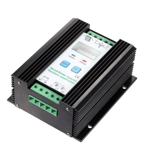 Contrôleur de système LCD PWM économique vent solaire hybride (600w vent + 400w solaire) 12v/24v d'Identification automatique domestique éclairage rue lampe Protection batterie régulateur