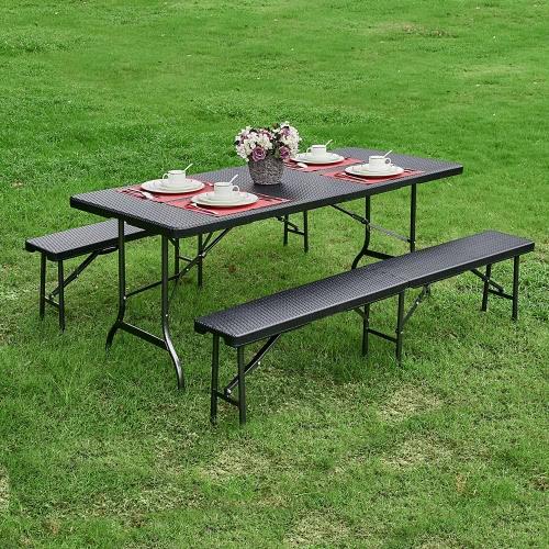 iKayaa 6FT Long Портативный складной для кемпинга Пикник Bench Heavy Duty Открытый Garden Party Обеденный стул Барбекю Bench