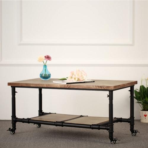 IKAYAA Table basse double plateau– bois de pin et pieds à roulette – Table d'appoint pour séjour