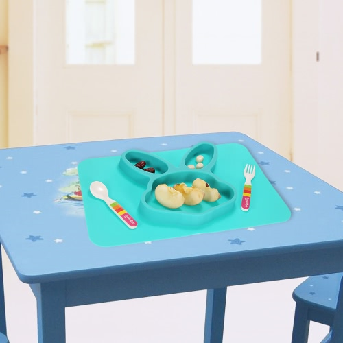 2 in 1 Safe Waterproof Silicone Green Rabbit Divided Placemat Plate Bowl Tableware for Baby Toddler KidsHome &amp; Garden<br>2 in 1 Safe Waterproof Silicone Green Rabbit Divided Placemat Plate Bowl Tableware for Baby Toddler Kids<br>