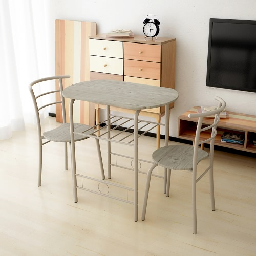 iKayaa Modern Metal Frame 3PCS Breakfast Dining Table Set with 2 Chairs Compact Kitchen Bistro  Set 100kg Capacity