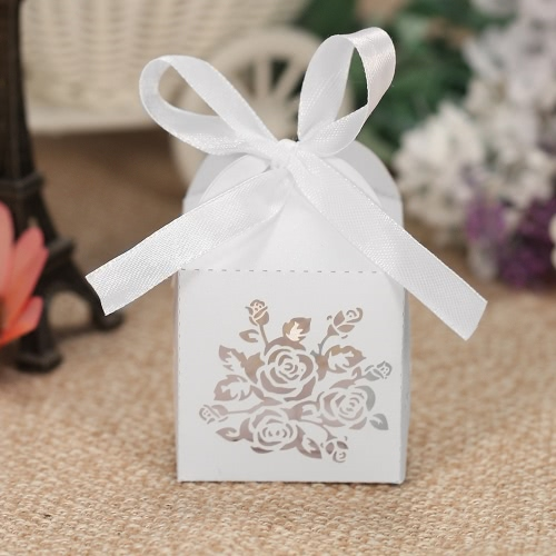 50pcs/set Mini Laser Cut Hollow Wedding Favor Box Candy Boxes White Pearl Paper Gift Box with Ribbons for Party BanquetHome &amp; Garden<br>50pcs/set Mini Laser Cut Hollow Wedding Favor Box Candy Boxes White Pearl Paper Gift Box with Ribbons for Party Banquet<br>