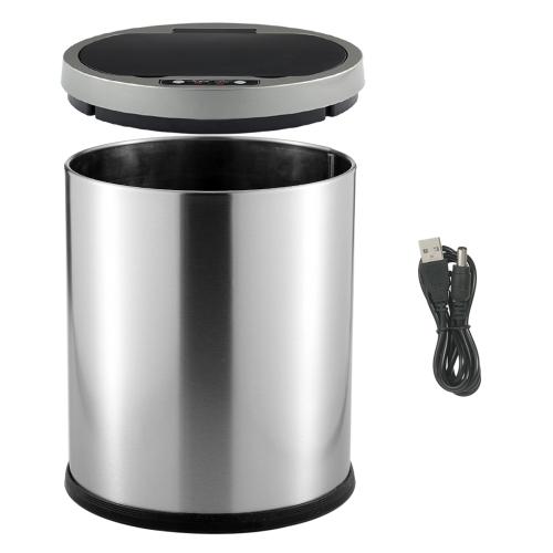 12L Smart Sensor Touchless Trash Can Stainless Steel Ash-bin Garbage Can Dust Bin Trash BinHome &amp; Garden<br>12L Smart Sensor Touchless Trash Can Stainless Steel Ash-bin Garbage Can Dust Bin Trash Bin<br>