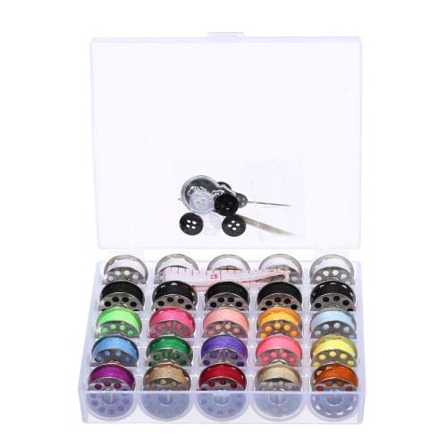 15 pz Misto Colori Bobine + 5 pz Bianco Bobine + 5 pz Nero Bobine Filo Bobine Accessori Per Cucire Kit di Forniture