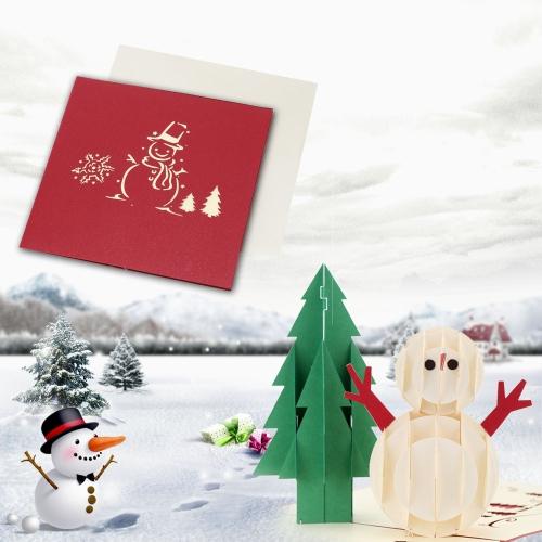 3D Handmade Folding Christmas Card Pop Up Kirigami Xmas Greeting Postcard with Envelop Christmas Tree Snowman Pattern Xmas AccessoHome &amp; Garden<br>3D Handmade Folding Christmas Card Pop Up Kirigami Xmas Greeting Postcard with Envelop Christmas Tree Snowman Pattern Xmas Accesso<br>