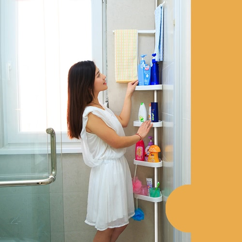 iKayaa Height Adjustable Metal Bathroom Corner Shower Caddy Organizer Bathtub Storage ShelfHome &amp; Garden<br>iKayaa Height Adjustable Metal Bathroom Corner Shower Caddy Organizer Bathtub Storage Shelf<br>
