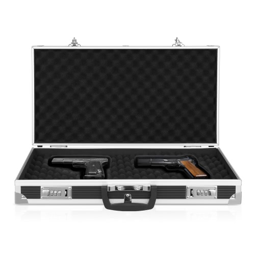 iKayaa Aluminum Framed Hard Locking Pistol Gun Case Handgun Revolver Carry Storage Box With 2 Combination LockHome &amp; Garden<br>iKayaa Aluminum Framed Hard Locking Pistol Gun Case Handgun Revolver Carry Storage Box With 2 Combination Lock<br>