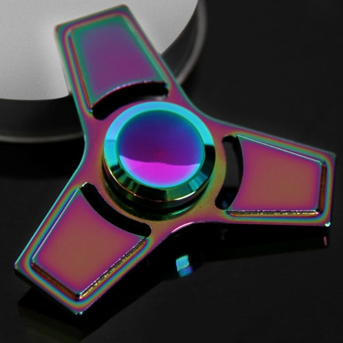 Tri Fidget Triangle Spinners Hand Finger Spin Toy Metal Aluminium Alloy 608 Bearing Rainbow Color Focus Desk Toy Anti Stress GiftsHome &amp; Garden<br>Tri Fidget Triangle Spinners Hand Finger Spin Toy Metal Aluminium Alloy 608 Bearing Rainbow Color Focus Desk Toy Anti Stress Gifts<br>